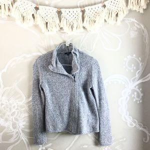 🍁GAP Grey Heathered zip up moto Sweater